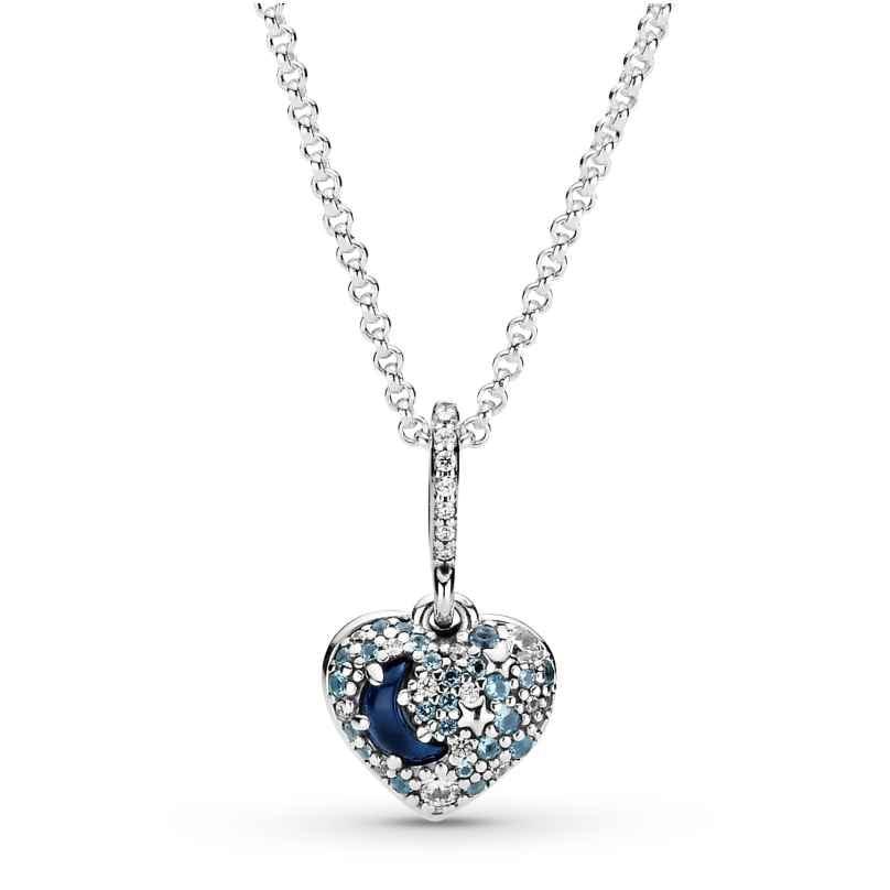 Pandora 399232C01-50 Damen-Halskette Funkelnder Blauer Mond & Sterne Herz 5700302899955