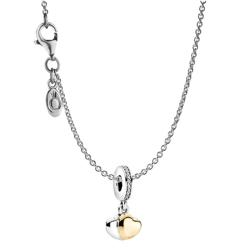 Pandora 39659 Damen-Kette Doppelherz Silber 4260684396592