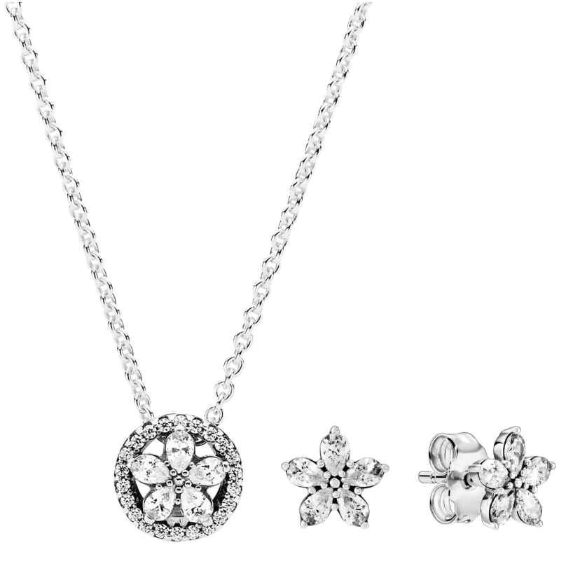 Pandora 39670 Geschenkset für Damen Funkelnde Schneeflocke Kette + Ohrringe 4260684396707
