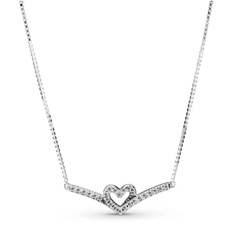 Pandora 399273C01-45 Damen-Halskette Sparkling Wishbone Heart Silber 5700302908398