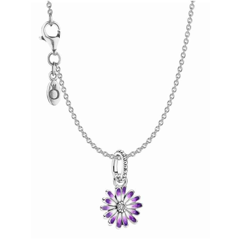 Pandora 39801 Damen-Kette Lilafarbenes Gänseblümchen Silber 4260684398015