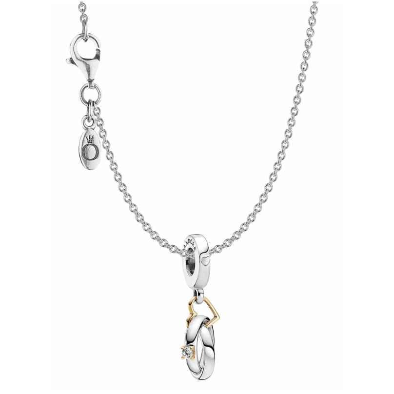 Pandora 39810 Damen-Collier Zweifarbige Trauringe Silber 4260684398107