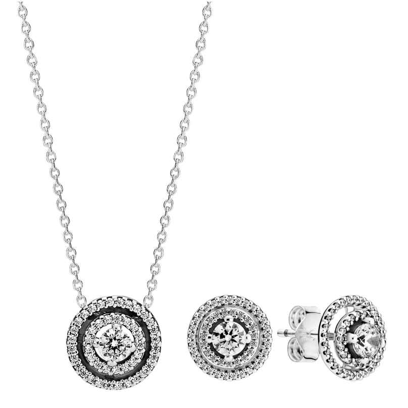 Pandora 51075 Women's Gift Set Necklace and Earrings Sparkling Double Halo 4260727510756