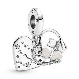 Pandora 51587 Women's Necklace Starter Set with Pendant Cats and Hearts Silver