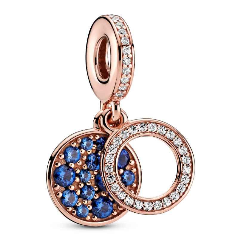 Pandora 789186C02 Rose Charm-Anhänger Funkelnde Blaue Scheibe 5700302899061