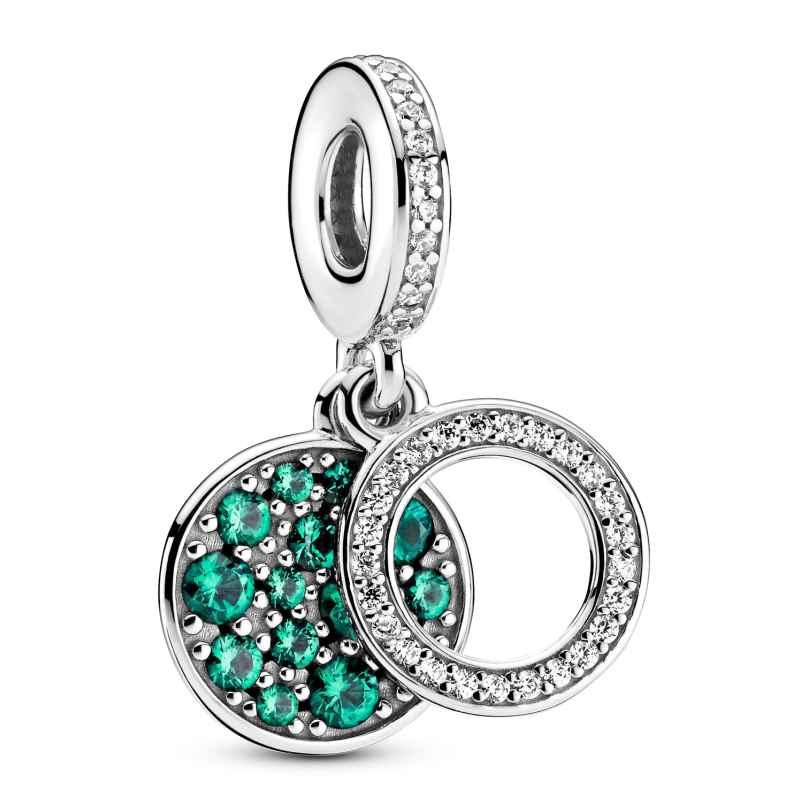 Pandora 799186C02 Silber Charm-Anhänger Funkelnde Grüne Scheibe 5700302899290