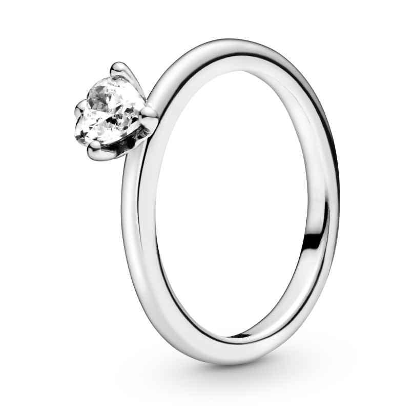 Pandora 198691C01 Silberring für Damen Clear Herz Solitär