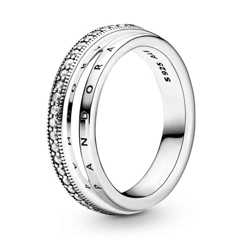 Pandora 199040C01 Women's Ring Silver Triple Band Pavé