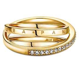 Pandora 169057C01 Ladies' Ring Crossover Pavé Triple Band Gold Tone
