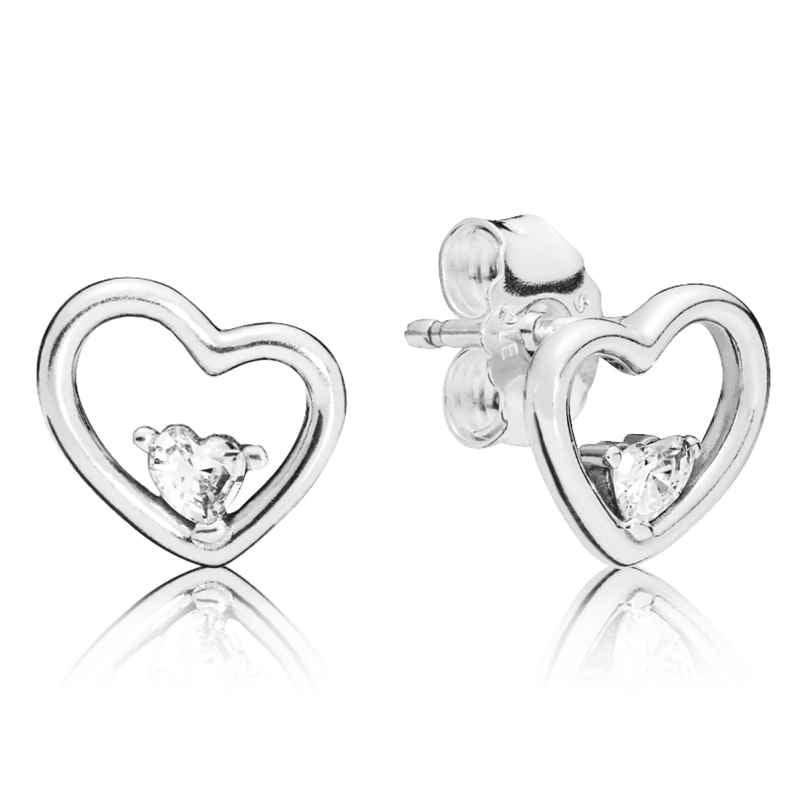Pandora 297813CZ Stud Earrings Asymmetric Hearts of Love 5700302745214