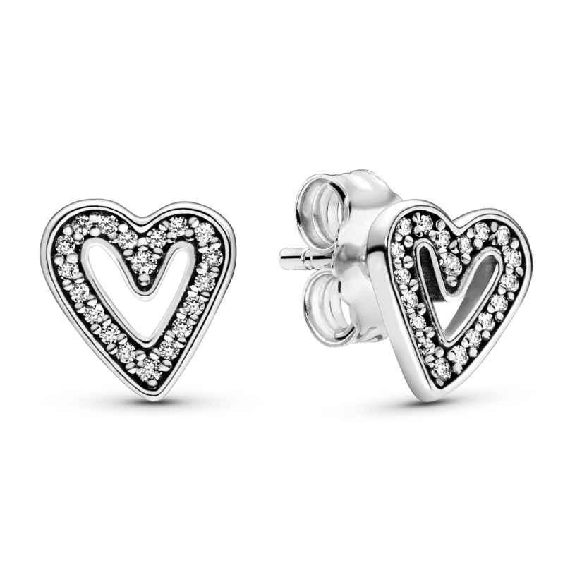 Pandora 298685C01 Ladies' Earrings Sparkling Freehand Hearts 5700302844184