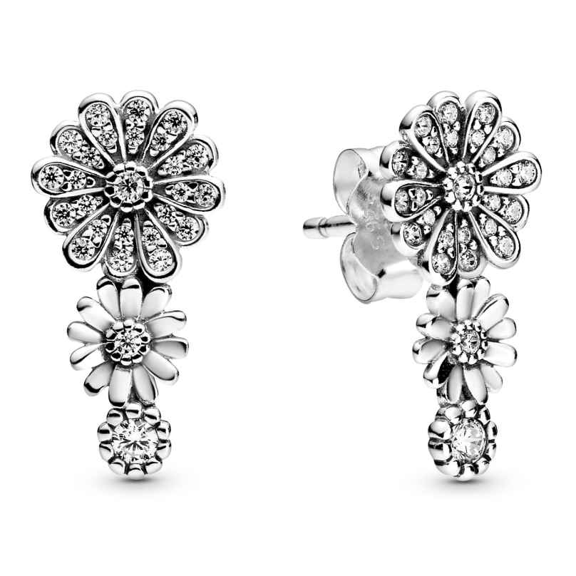 Pandora 298876C01 Ladies' Stud Earrings Sparkling Daisy Flower Trio Silver 5700302872002