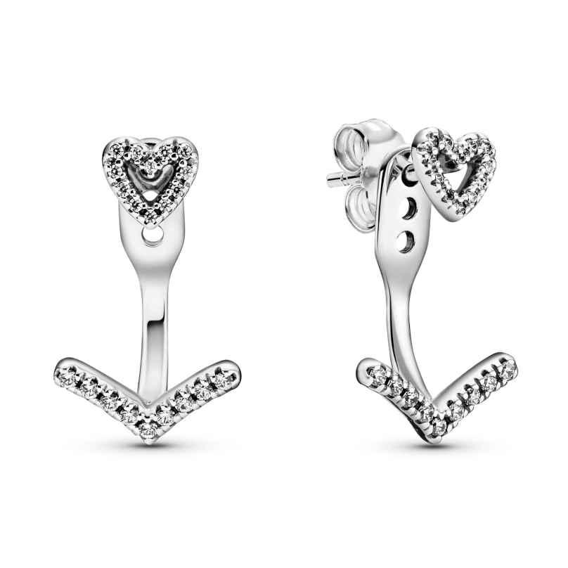 Pandora 299280C01 Damen-Ohrringe Sparkling Wishbone Heart Silber 5700302908343