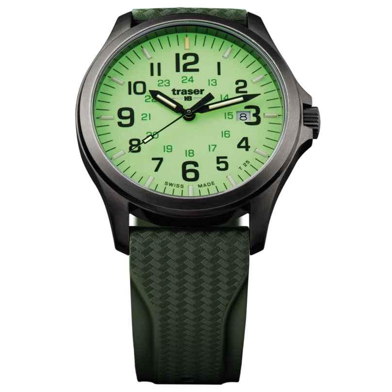 traser H3 107424 Herrenuhr P67 Officer Pro Gun Metal Lime Taucherband 7630027703610