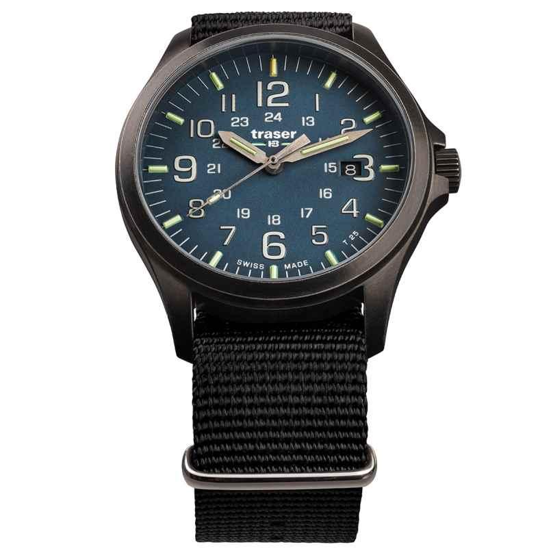 traser H3 108632 Herren-Armbanduhr P67 Officer Pro Gunmetal/Blau 7630027704082