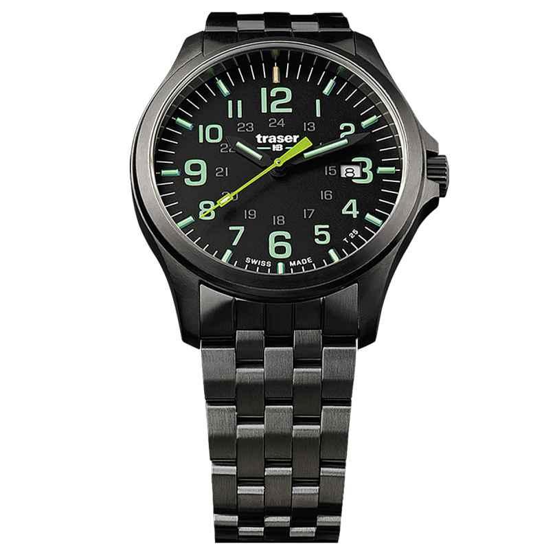 traser H3 107869 Men´s Watch P67 Officer Pro Gunmetal Black/Lime 7630027703719