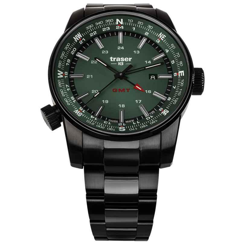 traser H3 109525 Herren-Armbanduhr P68 Pathfinder GMT Grün 7630027704754
