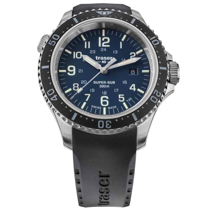 traser H3 109374 Herren-Armbanduhr P67 SuperSub Blau mit Kautschukband 7630027704488