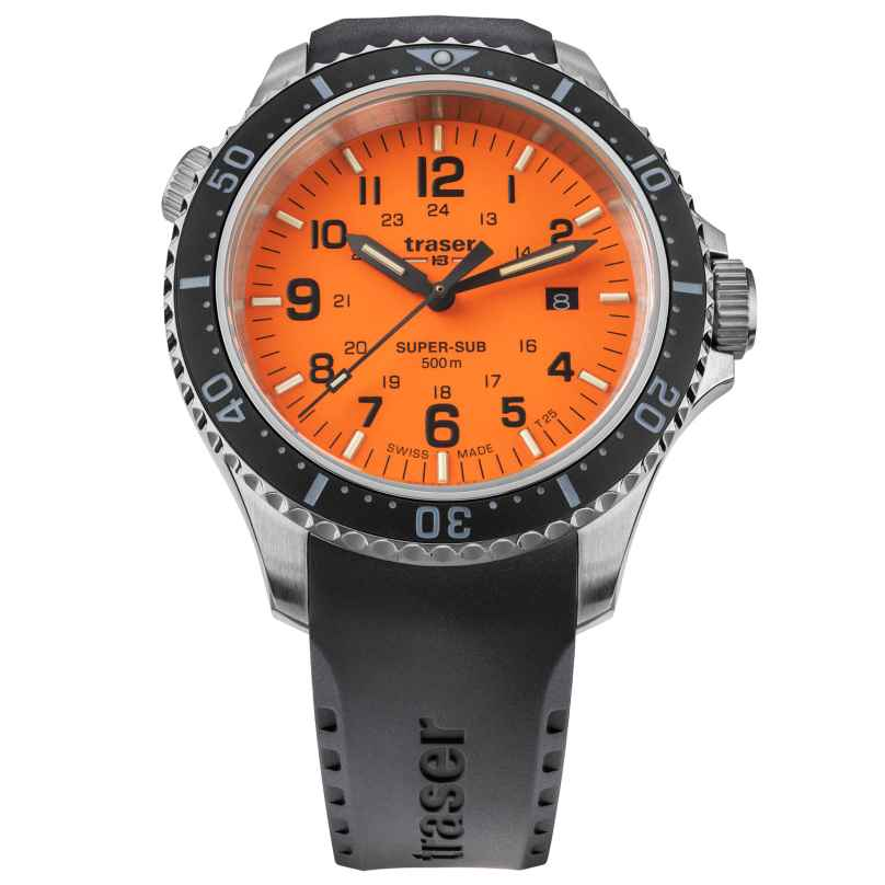 traser H3 109380 Men's Dive Watch P67 SuperSub Orange with Rubber Strap 7630027704549