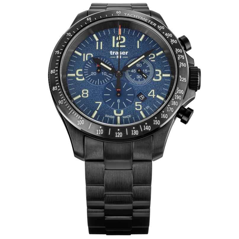 traser H3 109462 Herren-Armbanduhr P67 Officer Pro Chrono Blau mit Stahlband 7630027704617