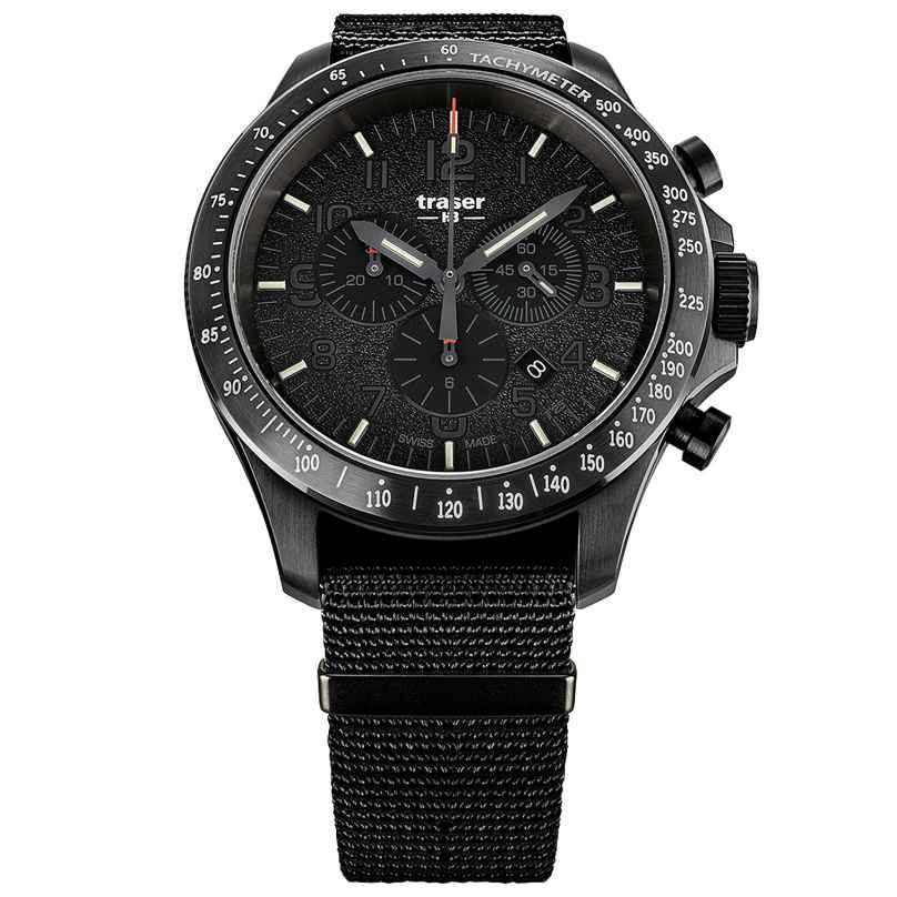 traser H3 109465 Men's Chronograph P67 Officer Pro Chrono Black with Nato Strap 7630027704587
