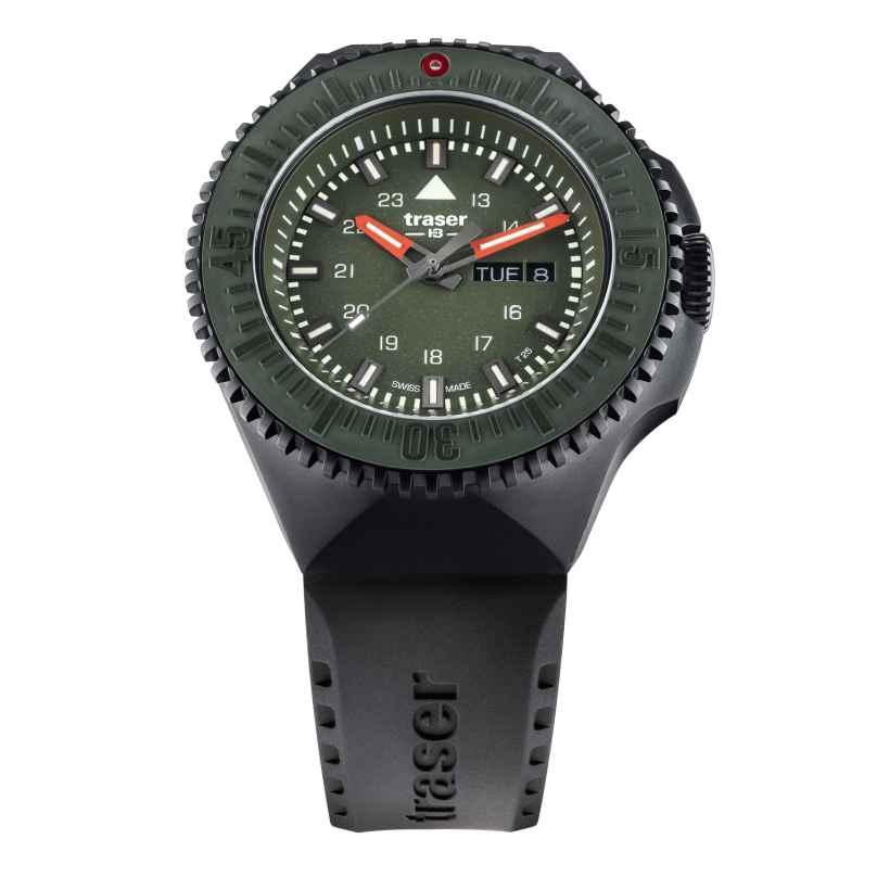 traser H3 109859 Herrenuhr P69 Black Stealth Grün mit Kautschukband 7630027704877
