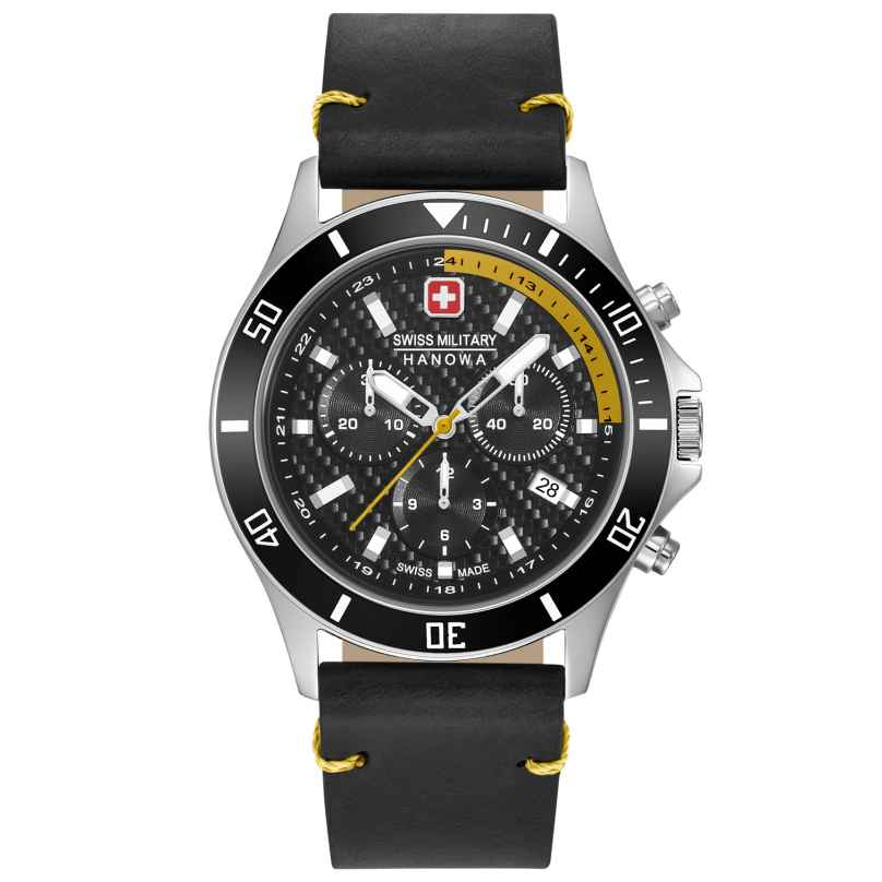 Swiss Military Hanowa 06-4337.04.007.20 Herrenuhr Flagship Racer Chrono Lederband schwarz 7620958001114