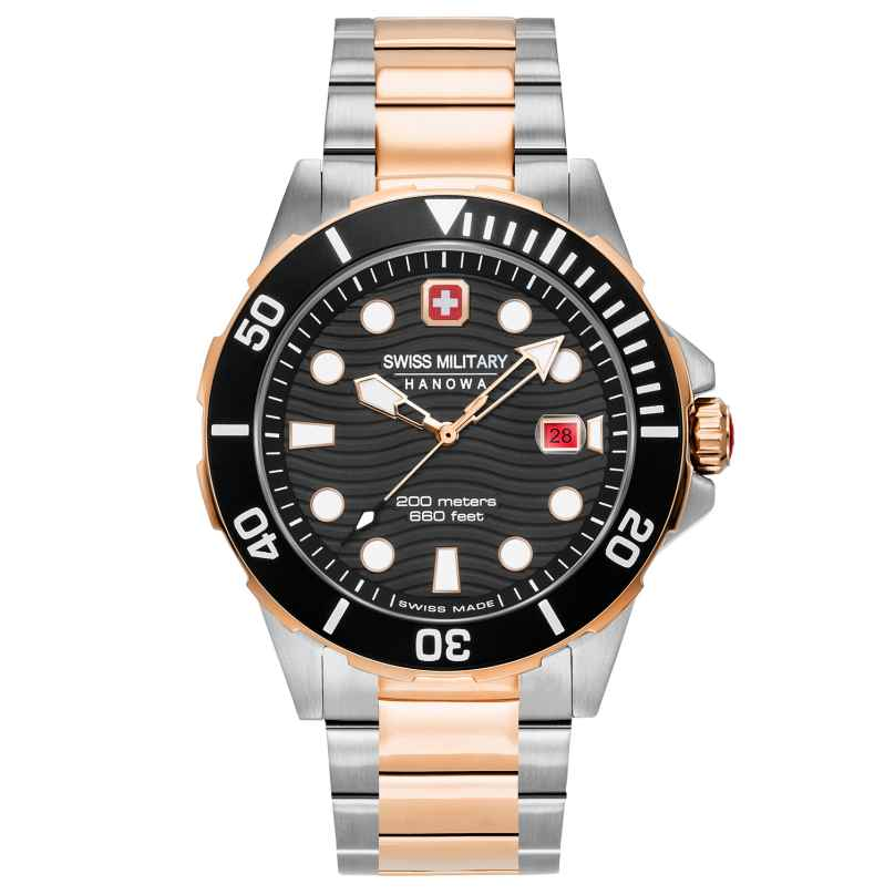 Swiss Military Hanowa 06-5338.12.007 Diver's Watch for Men Offshore Diver Two-Colour Black 7620958001213