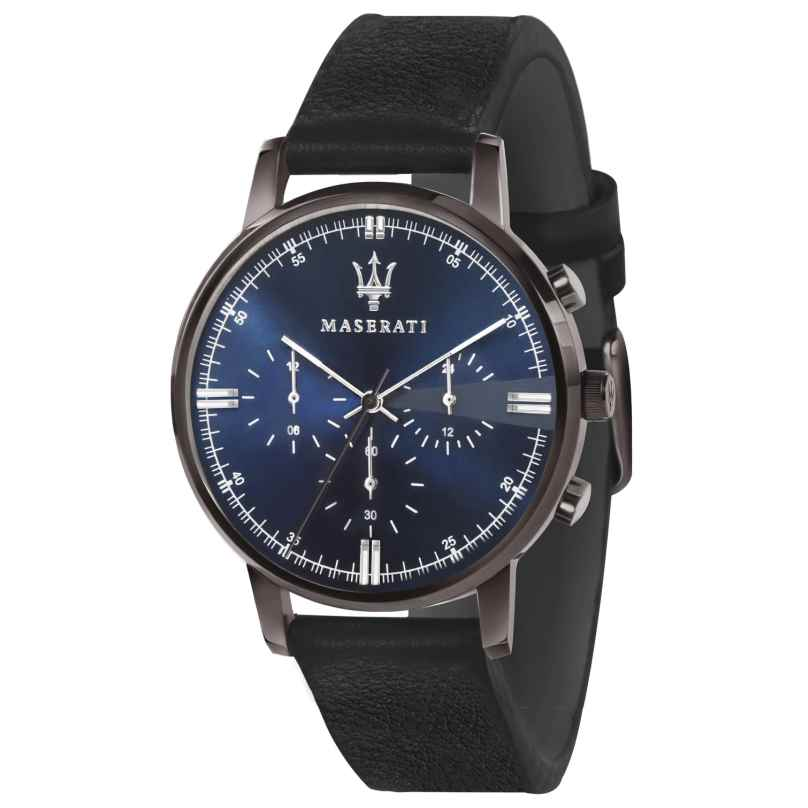 Maserati R8871630002 Herrenuhr Chronograph Eleganza schwarz/blau 8033288800118