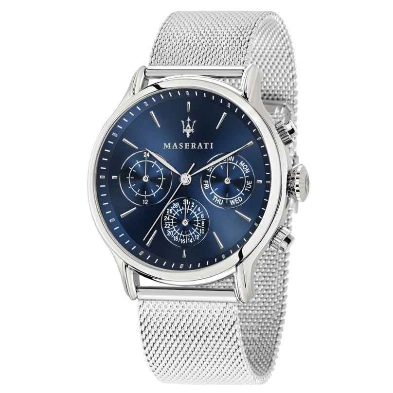 Maserati R8853118013 Herrenuhr Multifunktion Epoca silber/blau 8033288813668