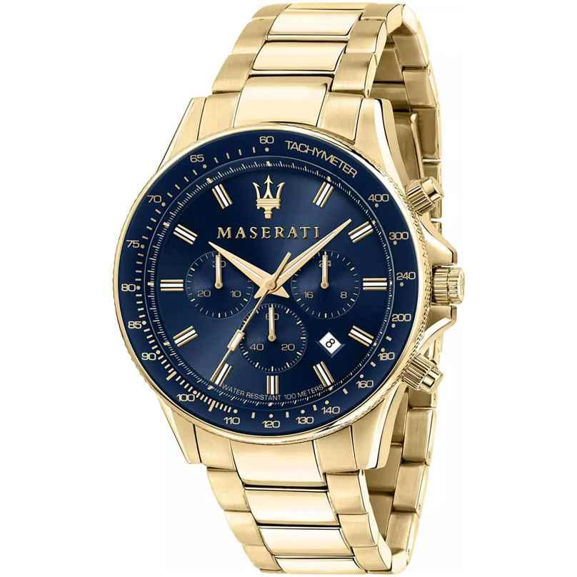 Maserati R8873640008 Herrenuhr Chronograph Sfida Goldfarben/Blau 8033288925910