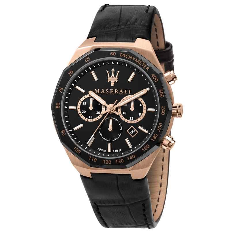 Maserati R8871642001 Men's Chronograph Stile Black/Rose Gold Tone 8033288907978