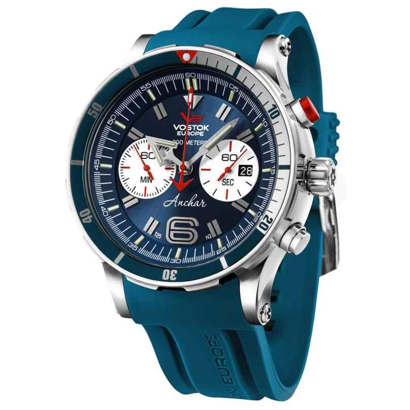 Vostok Europe 6S21-510A583 Anchar Chronograph Herrenuhr Blau mit Wechselband 4260157449022