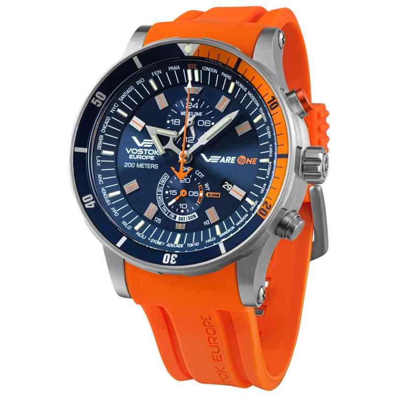 Vostok Europe YM8J-510H434 Herrenuhr VEareONE Special Edition Blau/Orange 4260157449145