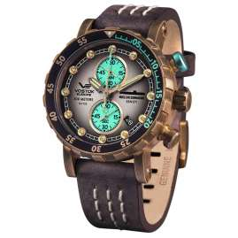 Vostok Europe VK61-571O613 Men's Chronograph SSN-571 Nuclear Submarine Brown/Rose