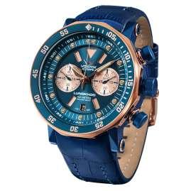 Vostok Europe 6S21-620E631 Herrenuhr Chronograph Lunokhod 2 Blau/Roségoldfarben