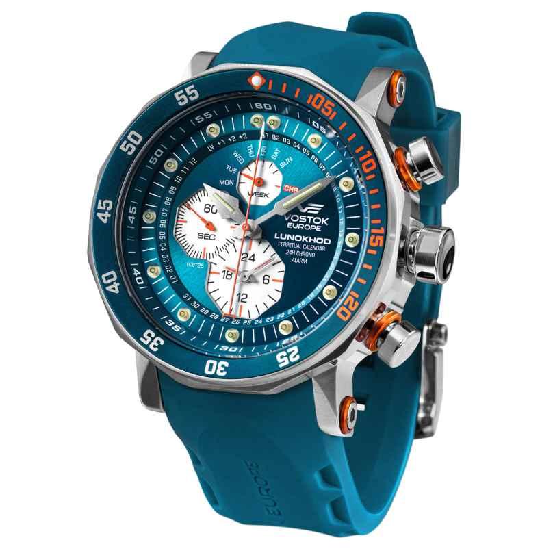 Vostok Europe YM86-620A636-BLAU Herren-Uhr Multifunktion Lunokhod 2 Blau 4260703060787