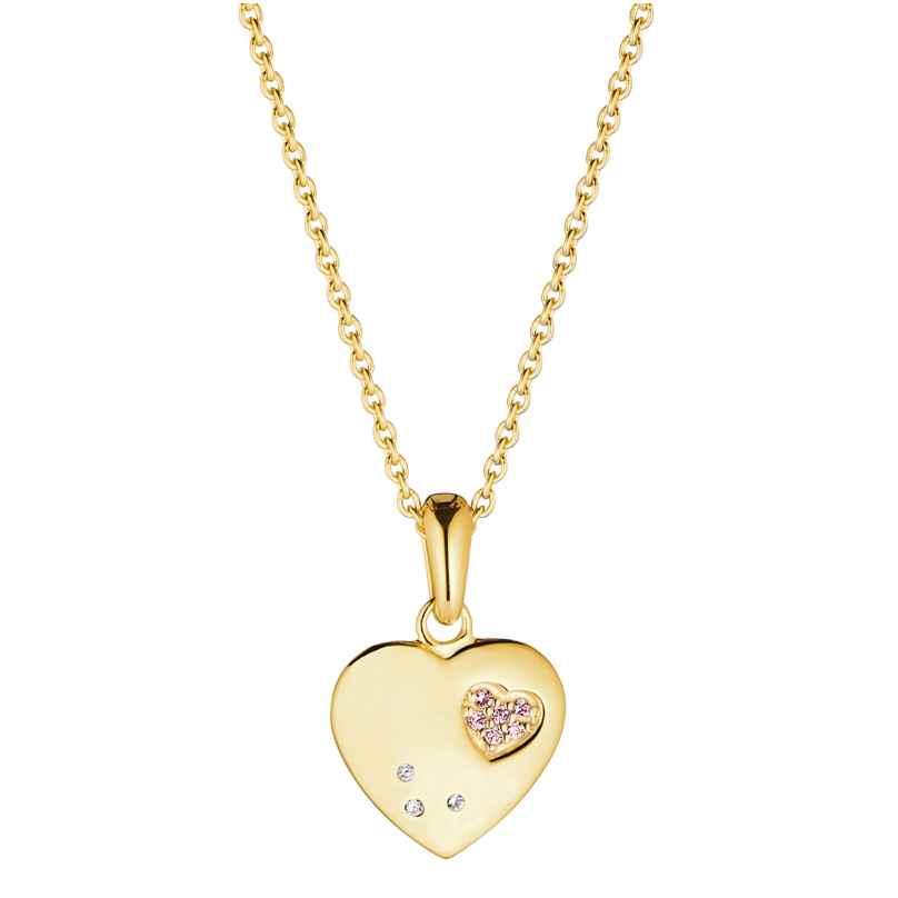 Prinzessin Lillifee 2029676 Kinder-Halskette mit Herz-Anhänger Silber vergoldet 4056867024440