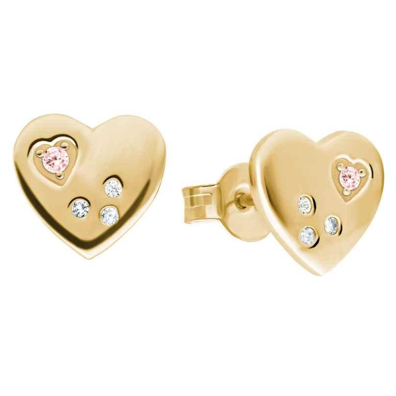 Prinzessin Lillifee 2029677 Ohrringe für Mädchen Herz Ohrstecker Silber vergoldet 4056867024457