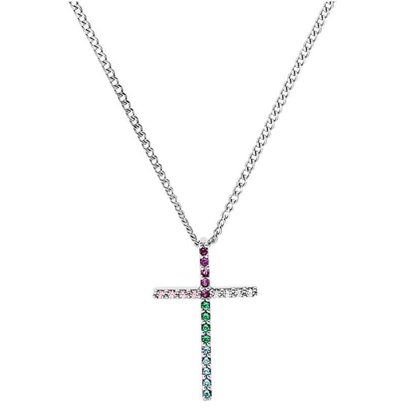 Prinzessin Lillifee 2031165 Silver Children's Necklace for Girls Cross Rainbow 4056867027427
