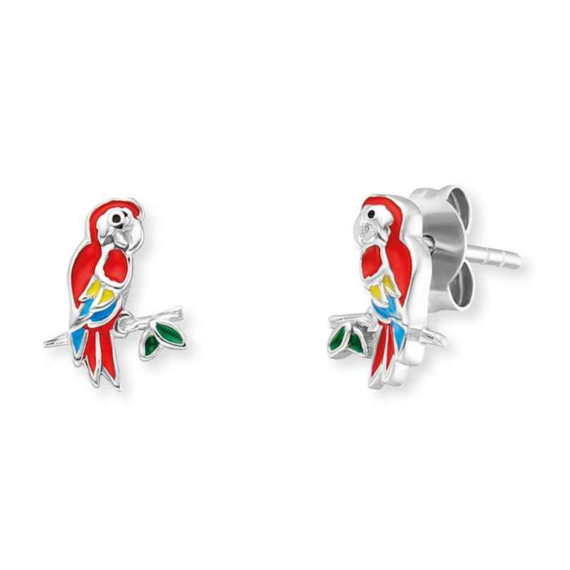 Herzengel HEE-PARROT Kinder-Ohrstecker Papagei Ohrringe Silber 4260645863989
