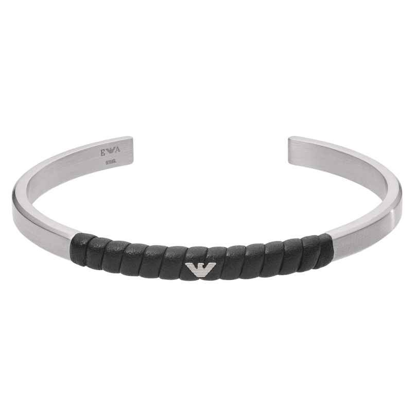 Emporio Armani EGS2716040 Men's Bangle Stainless Steel Black Leather 4053858738669