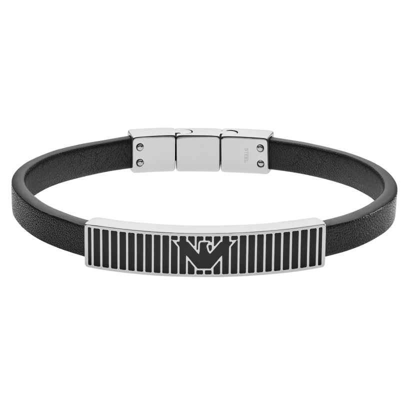 Emporio Armani EGS2728040 Herren-Armband Leder Schwarz 4048803211724