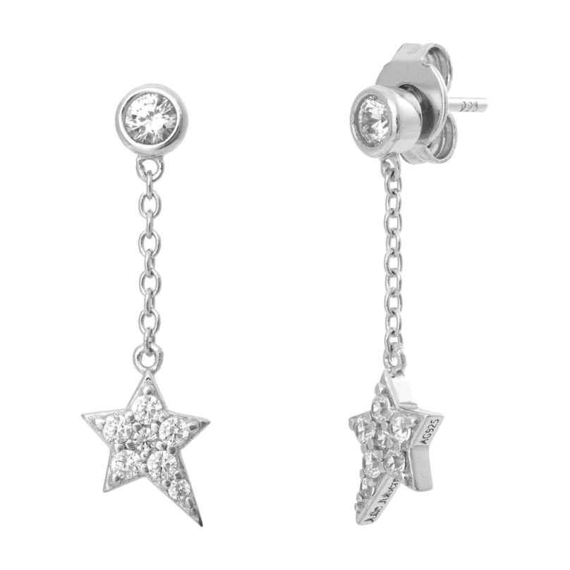 Julie Julsen JJFER0412.1 Silber Ohrhänger für Damen Stern Ohrringe 9120073589309