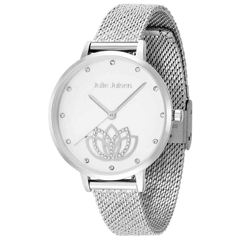 Julie Julsen JJW1018SME Ladies Watch Lotus Flower Ø 36 mm silver tone / white 9120098053724