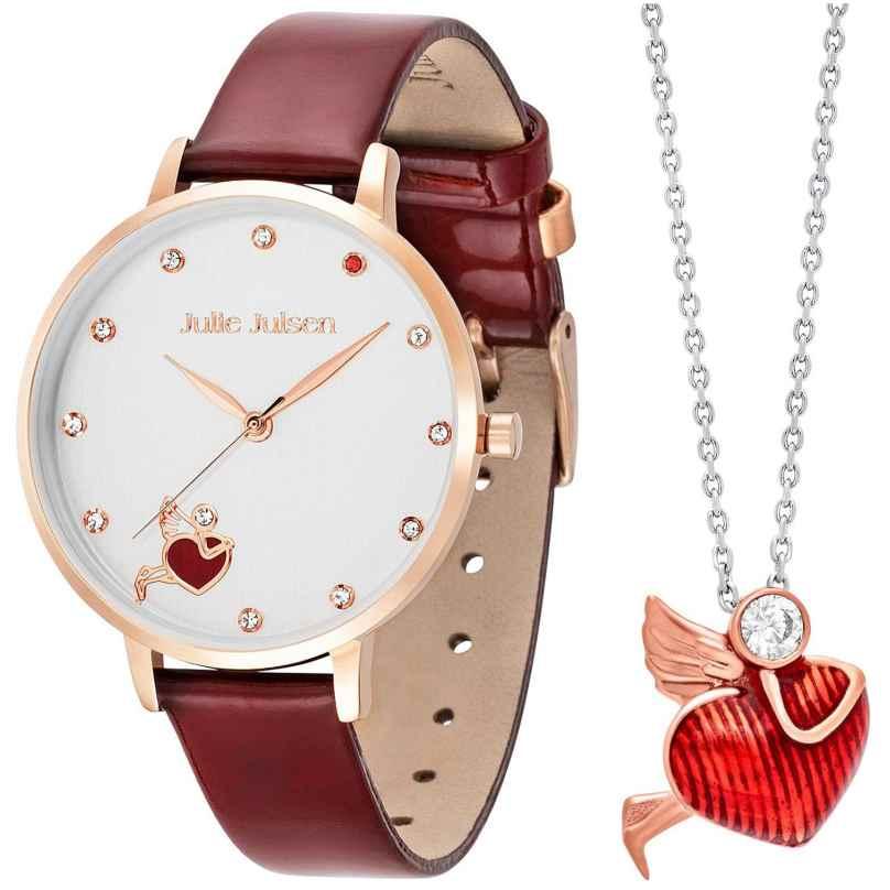 Julie Julsen JJW1540RGL-Set Damenuhr und Kette Angel Of Heart Weinrot 9120098053878
