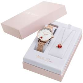 Julie Julsen JJW1540RGME-Set Ladies' Watch and Necklace Angel Of Heart Rose