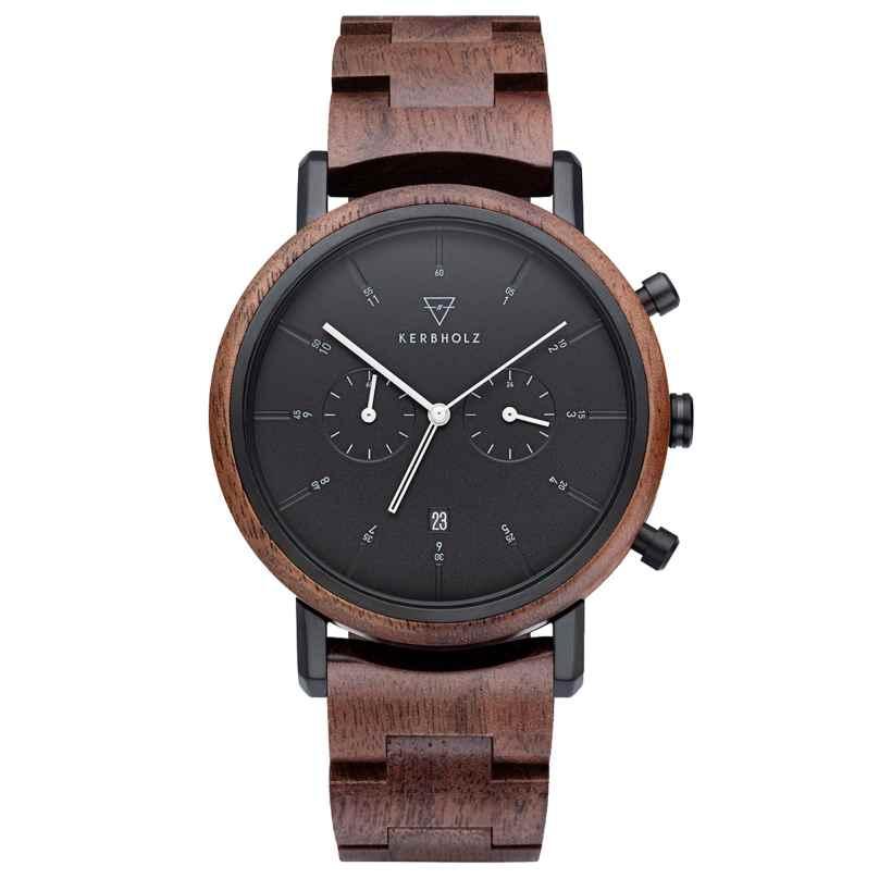 Kerbholz Herren-Armbanduhr Chronograph Johann Walnuss/Schwarz 4251240414461