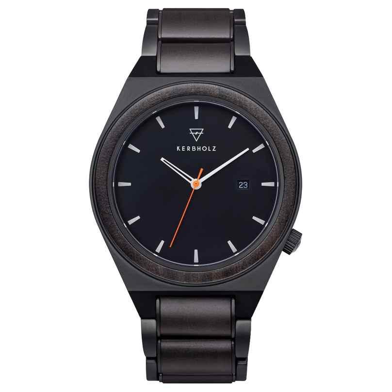 Kerbholz Holz-Armbanduhr für Herren Paul Sandelholz/Orange 4251240414201