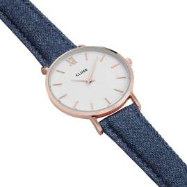 Cluse CL30029 Minuit Rose Gold White/Blue Denim Watch